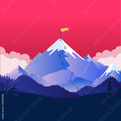 Fototapety, obrazy: Mountain with flag on top. Large mountain higher than the clouds with yellow flag on the summit. Red sky in background. Challenge ahead and road to success concept.