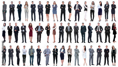 Foto collage of a variety of business people standing in a row