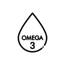 Omega 3. Icono Plano Lineal Gota En Color Negro