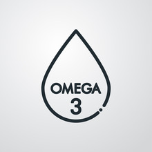 Omega 3. Icono Plano Lineal Gota En Fondo Gris