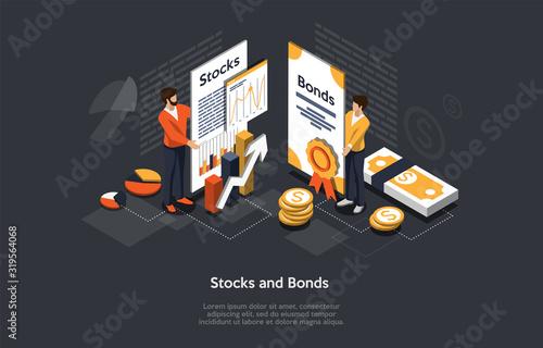 Photo Isometric Stock And Bonds Concept