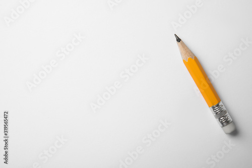 Short graphite pencil on white background, top view Wallpaper Mural