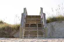 Wooden Stairs At The Beach