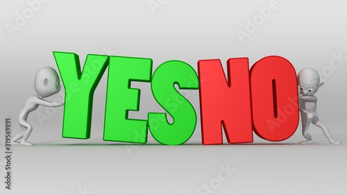 Photo Two white 3d characters with great effort try to push a YES NO text in opposite