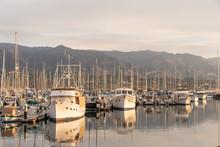 Boats At The Santa Barbara Marina At Sunrise