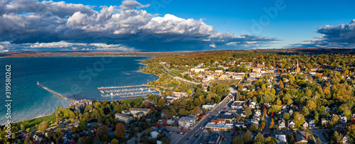 Aerial view of Petoskey in early Autumn