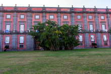 Italy, Naples, Royal Palace Of Capodimonte, View And Details Of The Facade