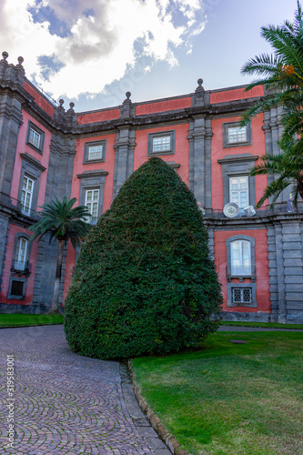 Italy, Naples, royal palace of Capodimonte, view and details of the facade Canvas-taulu