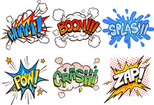 Comic Book Retro Sound Effects. Vector Cartoon Clip Art Illustration With Simple Gradients. Each On A Separate Layer.