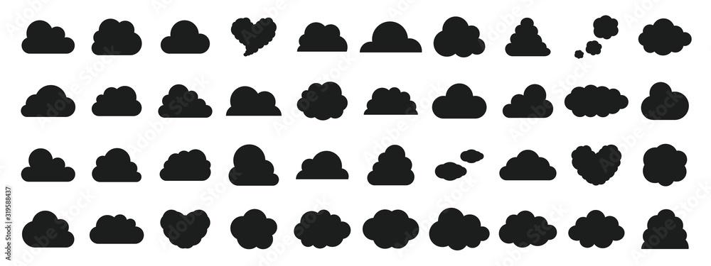 Fototapeta  Black and white cloud icon set