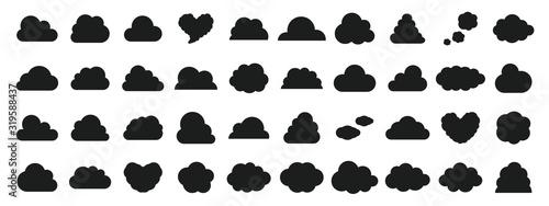 Fototapeta  Black and white cloud icon set obraz