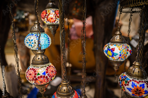 Photo Colorful marble arabic lamp on display, selective focusing