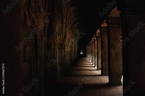 Empty Narrow Corridor In Historic Building - fototapety na wymiar