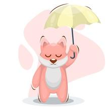 Cute Cat With Umbrella Cartoon...