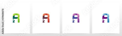 Obraz Modern Digital Letter Logo Design R - fototapety do salonu