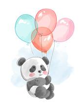 Cute Panda Flying With Balloon...