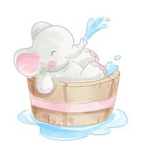 Cute Elephant In Wooden Bathtu...