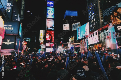 Crowds Celebrating New Year On Times Square - fototapety na wymiar