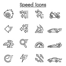 Speed, Fast Icon Set In Thin L...