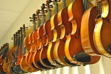 Low Angle View Of Violins Hanging In Row At Store