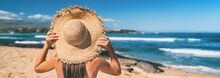 Summer Beach Vacation Panoramic Young Woman With Straw Hat On Caribbean Destination Getaway Sun Holiday Travel Banner Panorama.