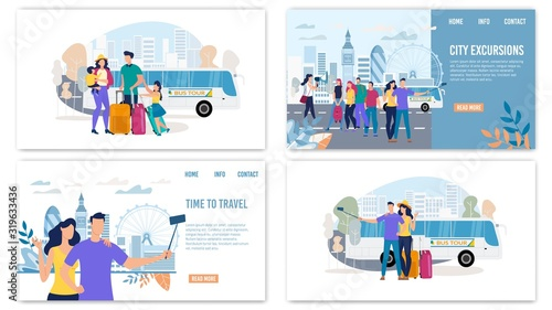 Photo City Excursions, Traveling with Bus Tours Trendy Flat Vector Horizontal Web Banners, Landing Pages Set