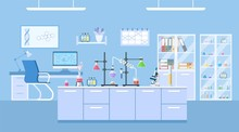 Chemical Laboratory Science And Technology Coronavirus 2019-nCoV. Scientists Workplace Concept. Science, Education, Chemistry, Experiment, Laboratory Concept. Vector Illustration In Flat Design
