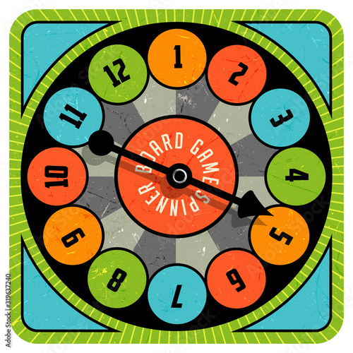 Obraz na plátně Vintage style spinner for board game with spinning arrow, numbers, and letters