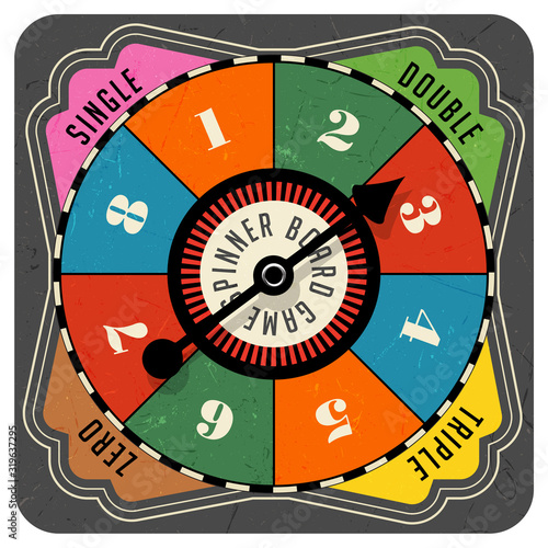 Fototapeta Vintage style spinner for board game with spinning arrow, numbers, and letters