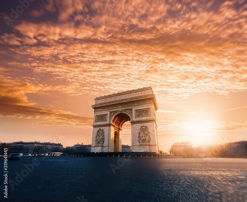 Canvas Print Triumphal Arch Against Sky At Sunset