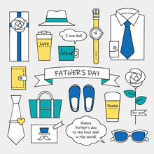 Set Of Simple Color Fathersday...