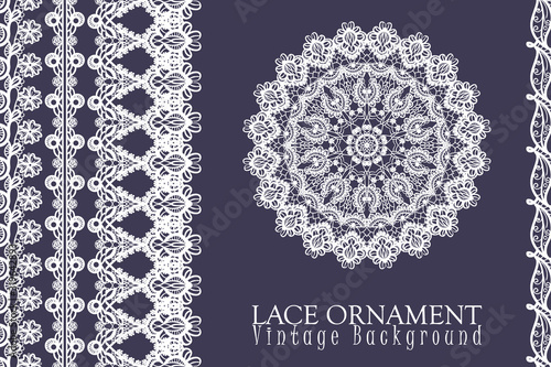Fotografia, Obraz Vector decorative background with lace design and place for text