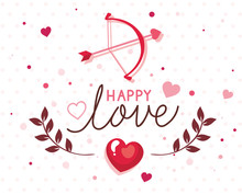 Happy Valentines Day Card With Arch Cupid And Decoration Vector Illustration Design