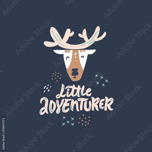 Little adventurer hand drawn color vector lettering Canvas Print