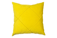 Yellow And Clean Pillow Isolated On White Background With Clipping Path. Close-up Of Yellow Pillow Isolated On A White Background. Pillow For Sleeping.