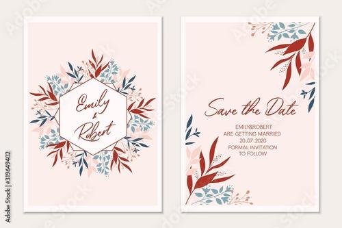 Fototapety, obrazy: Floral card set. Botanical card mock up