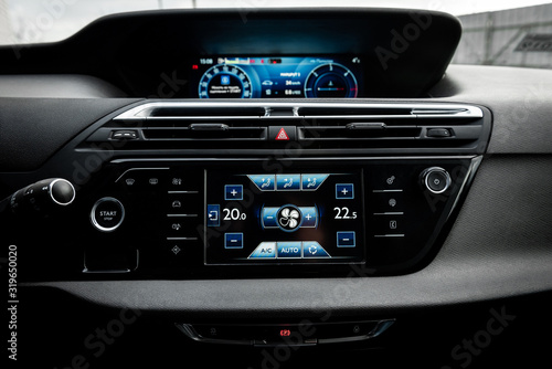 Car air conditioning panel on the luxury car console Wallpaper Mural