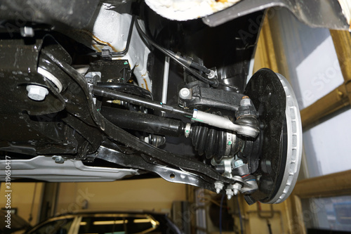 Fotografia Elements and design of the front suspension of a modern car