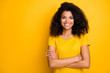 Close-up portrait of her she nice attractive lovely pretty content cheerful cheery wavy-haired girl folded arms isolated over bright vivid shine vibrant yellow color background