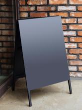 Signboard Stand Black Blank Menu Shop Restaurant With Brick Wall