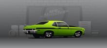 Custom Muscle Car, Hot Street Racer. Vector Illustration.