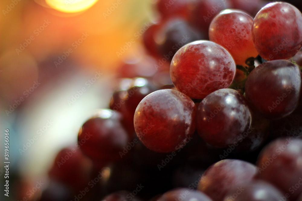 Fototapeta Close Up Of Red Grapes