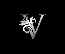 V Letter Swirl Logo. Silver V ...