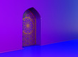 canvas print picture - Golden arabic ornament on the purple wall with islamic door. 3D illustration
