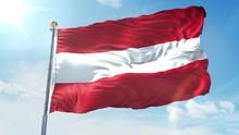 Austria Flag Waving In The Wind Against Deep Blue Sky. National Theme, International Concept. 3D Render Seamless Loop 4K