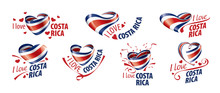 National Flag Of The Costa Rica In The Shape Of A Heart And The Inscription I Love Costa Rica. Vector Illustration