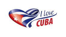 National Flag Of The Cuba In The Shape Of A Heart And The Inscription I Love Cuba. Vector Illustration