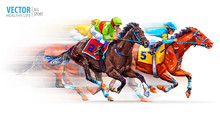 Three Racing Horses Competing ...
