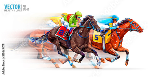 Canvas Print Three racing horses competing with each other, with motion blur to accent speed