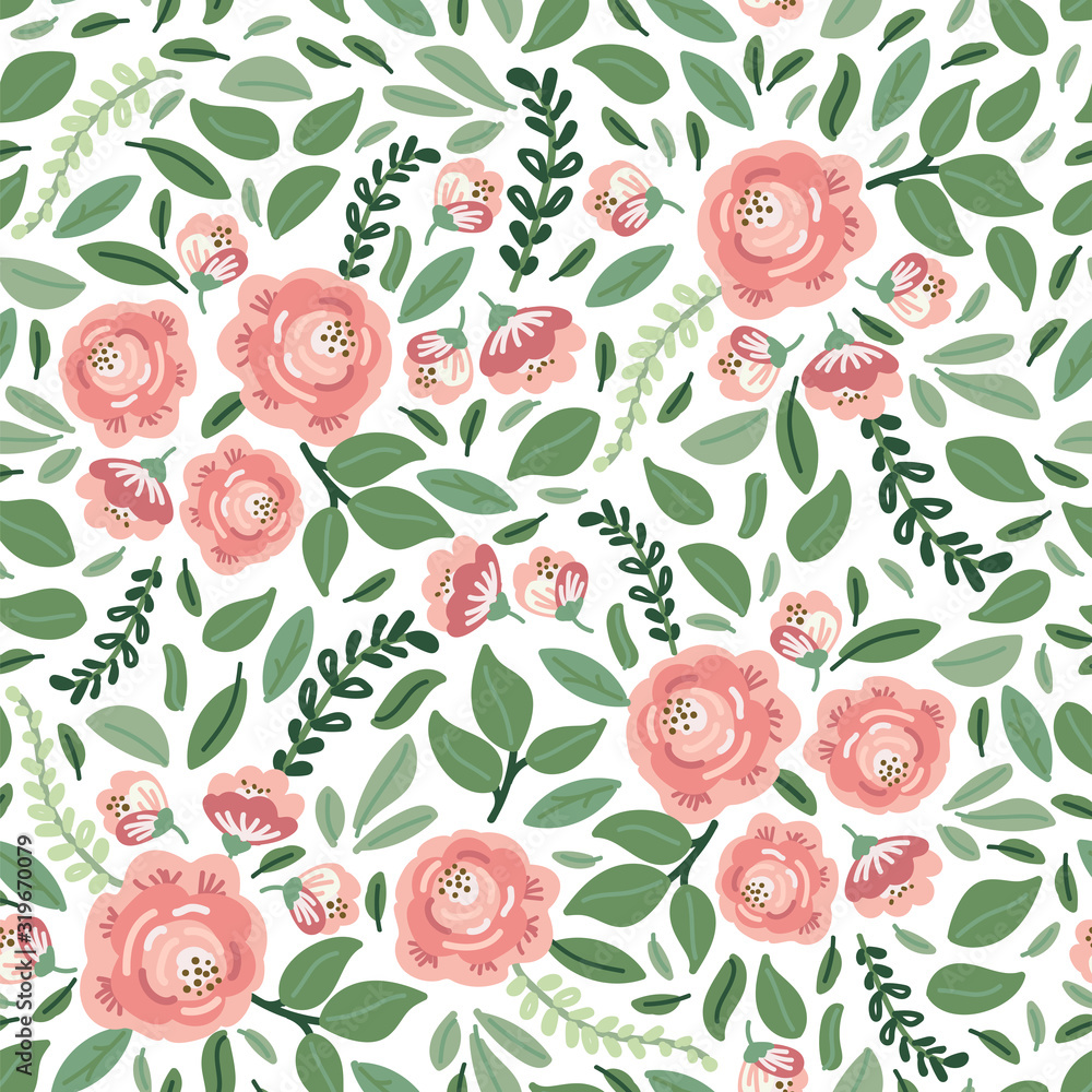 Fototapeta Cute botanical floral seamless pattern background with bouquets of rustic roses flowers and leaves branches, neutral colors